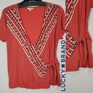 Lucky Brand Side Tie Wrap Top Size Large NWOT